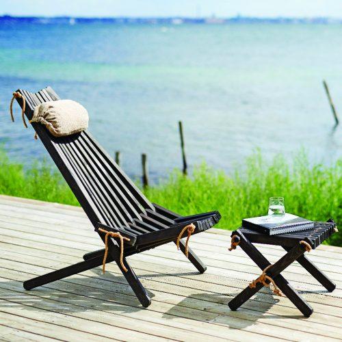 HORNBÆK Stol lounge - Sortbejdset formajour udeliv terrasse altan havemøbler skammel fodskammel lille bord
