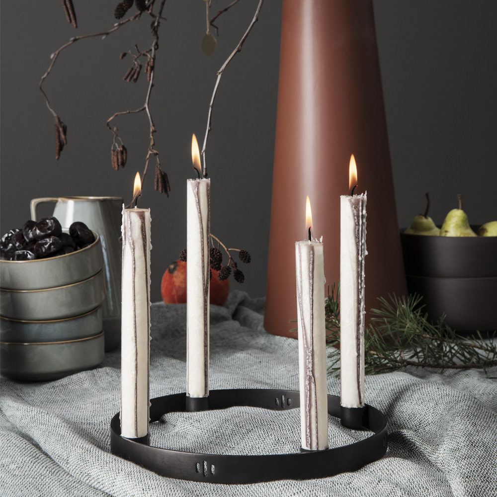 FERM living, Candle holder circle large - black brass