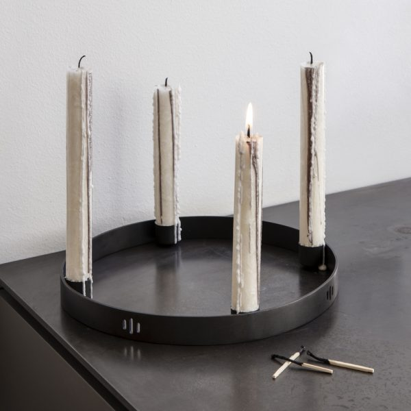 candle holder circle black small