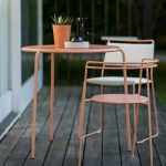 point chair and table peach