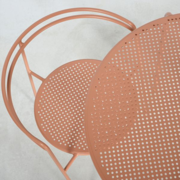 point chair and table peach top